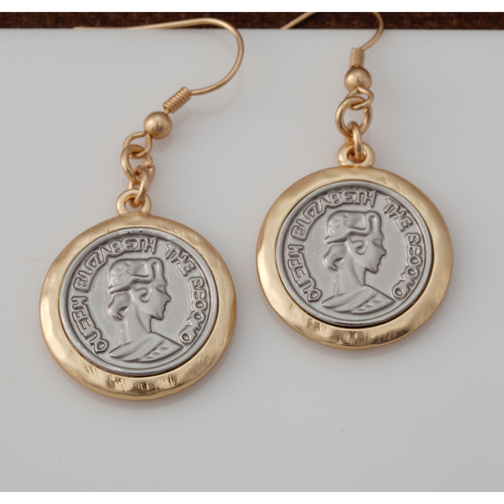 Gold and Silver Coin Earrings