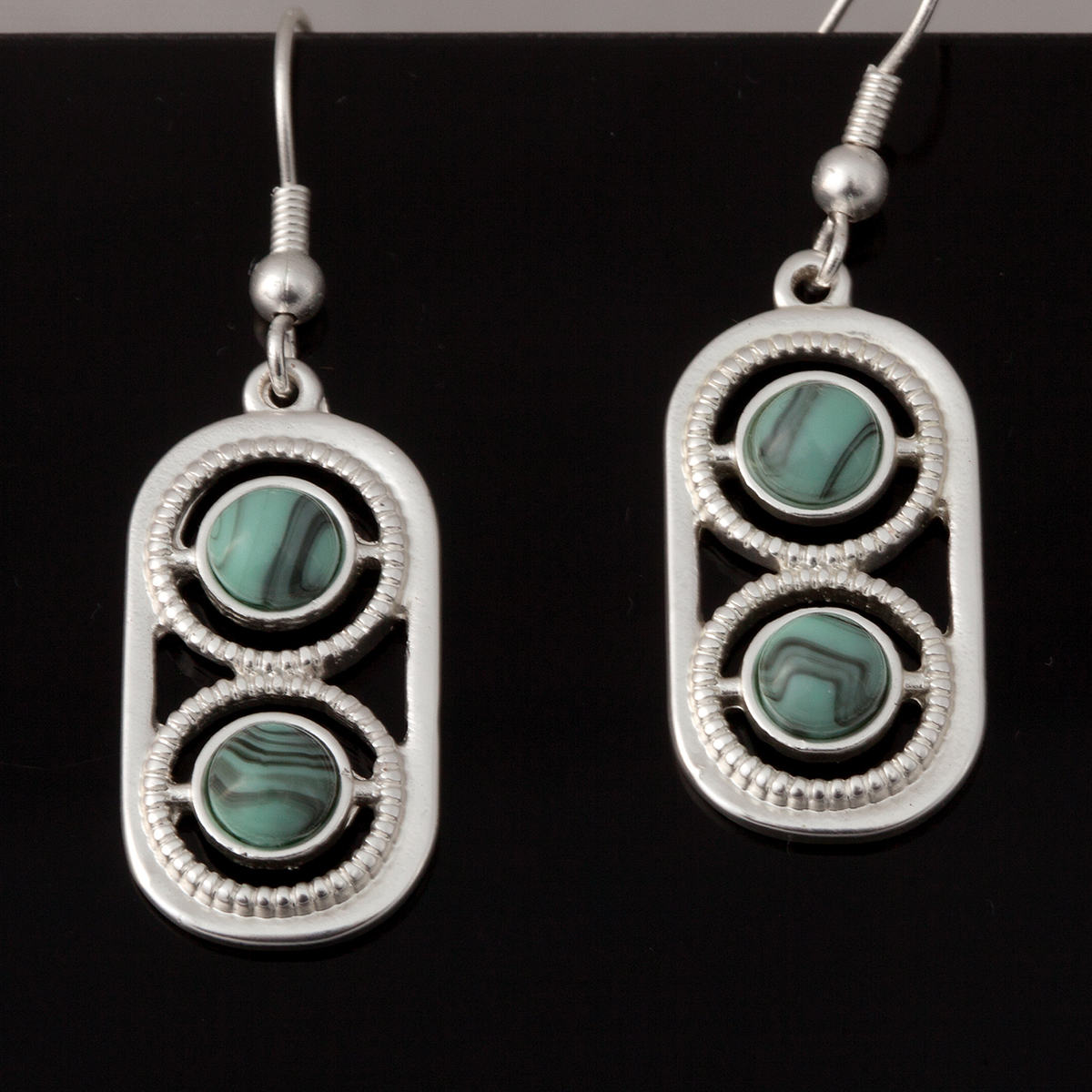 Turquoise and Silver 2 Circle Earrings