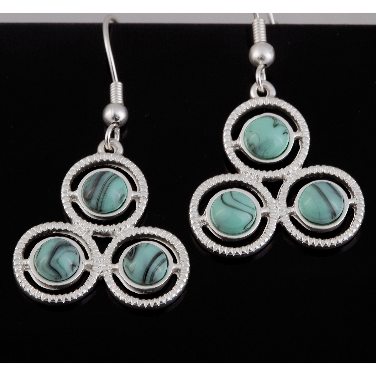 Turquoise and Silver 3 Circle Earrings