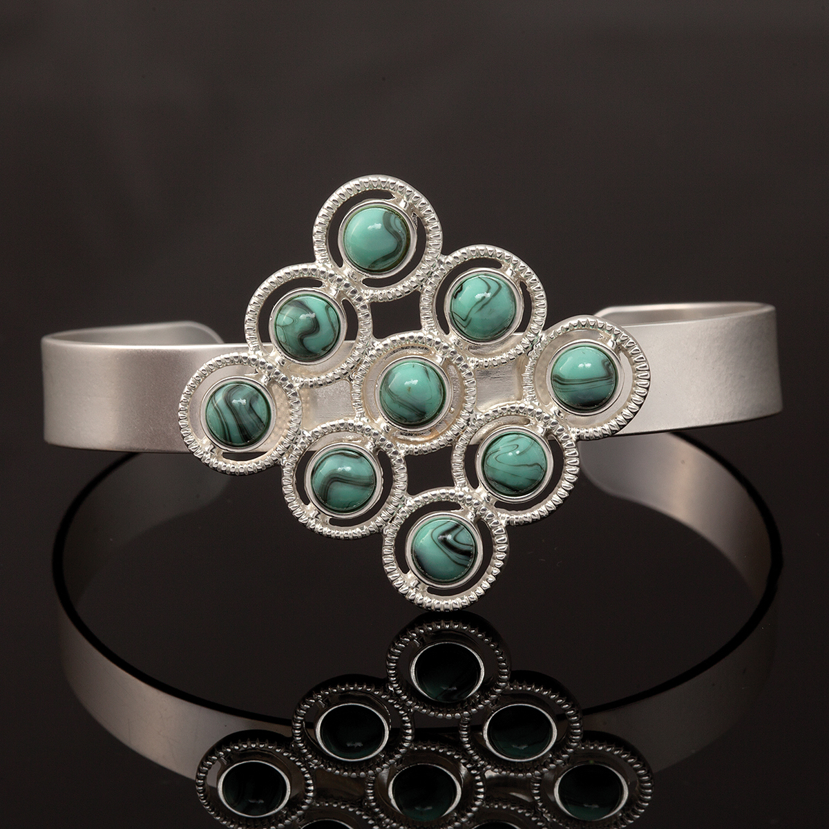 Turquoise and Silver Circle Cuff Bracelet