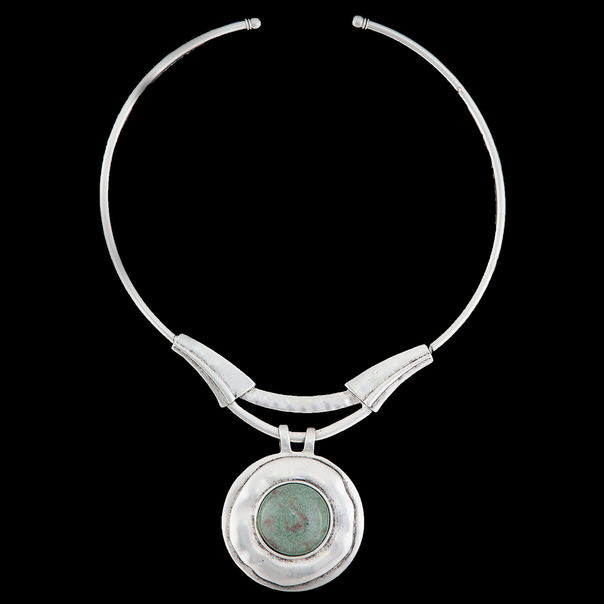 Blue/Green Stone Silver Circle Necklace