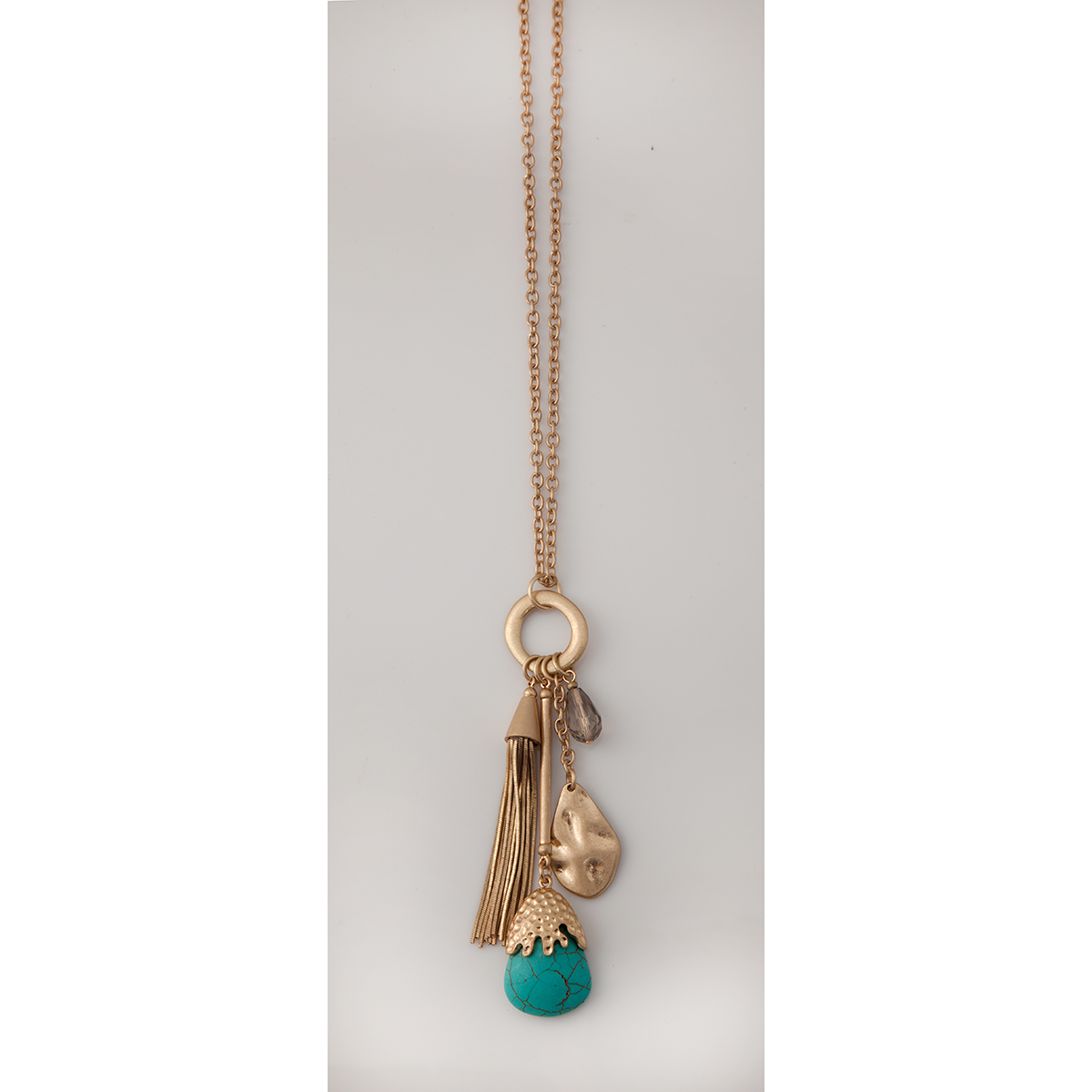 Gold Satin Turquoise Beadn and Chain Dangle Necklace