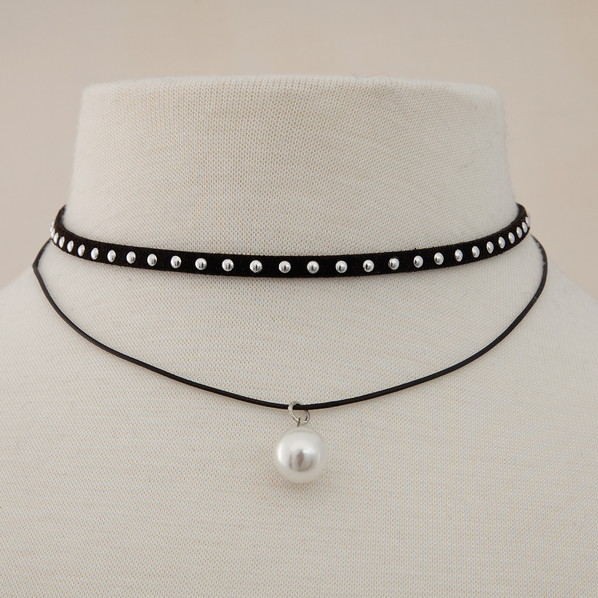 Pearl Dangle and Black Stuffed Double Choker