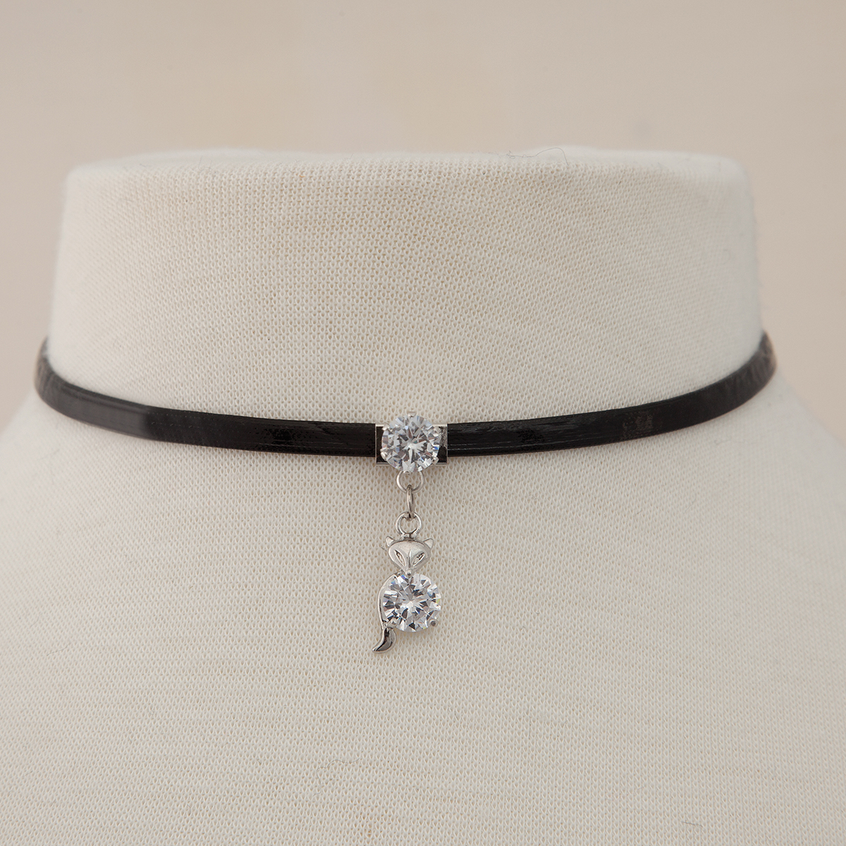 Dangle Fox Pendant with Crystal Accents on Single Black Cord Cho