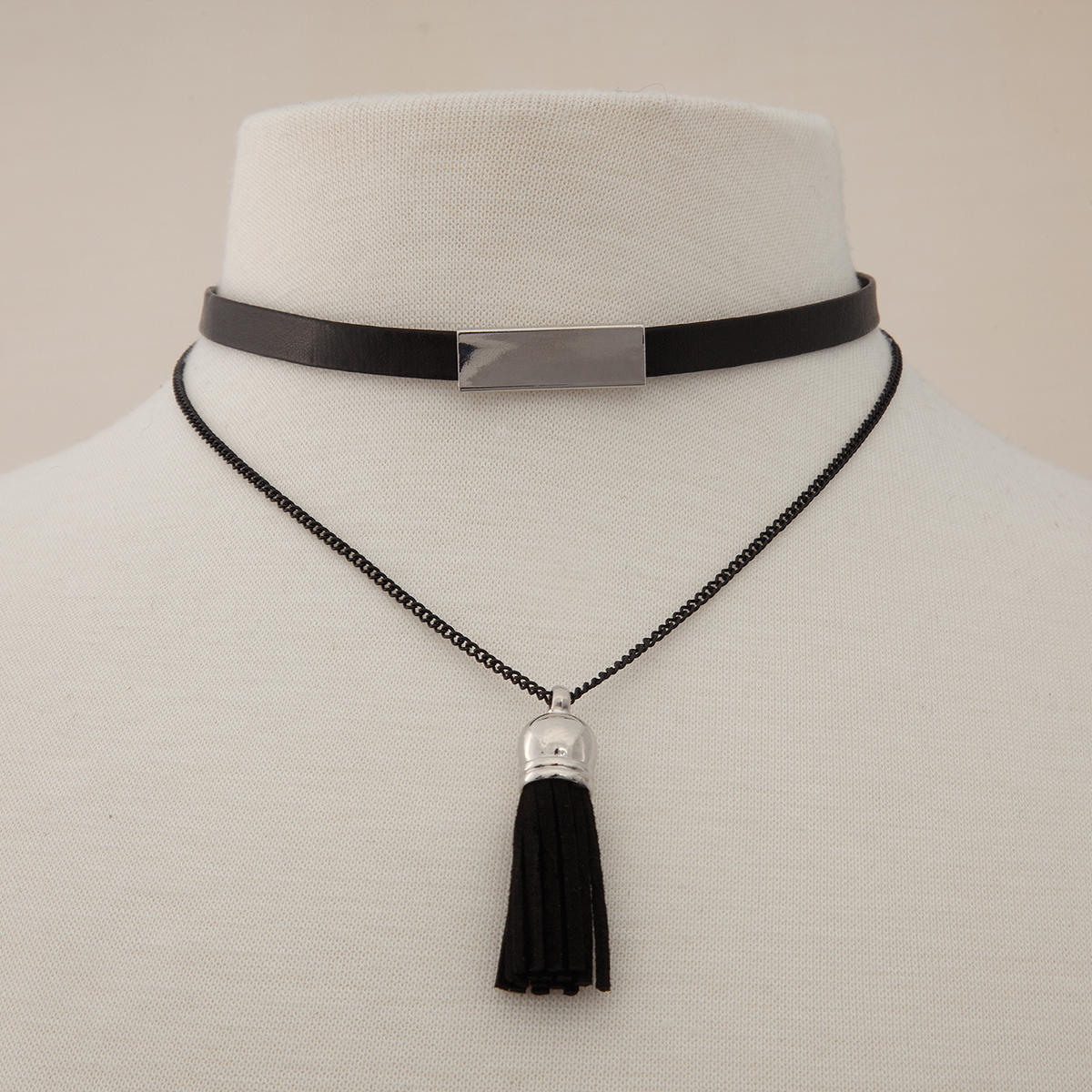 Silver Bar Double Black Cord Double Choker