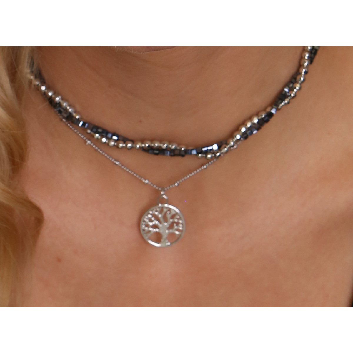 Silver Bead Tree of Life Double Choker