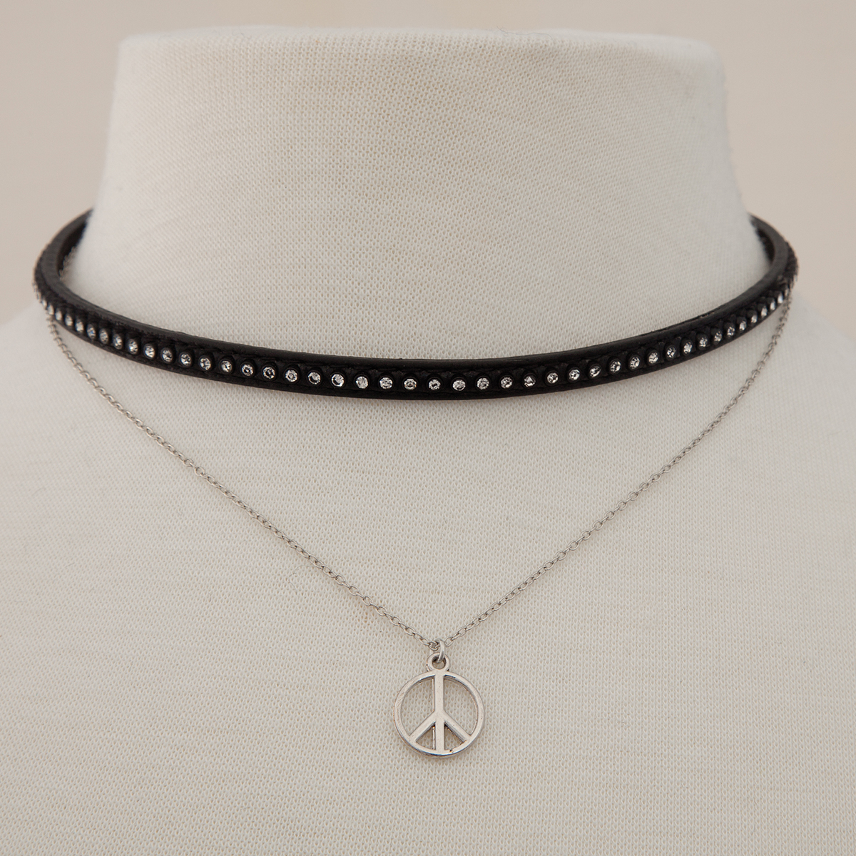 Silver Peace Sign with Mini Studded Double Choker 50sp