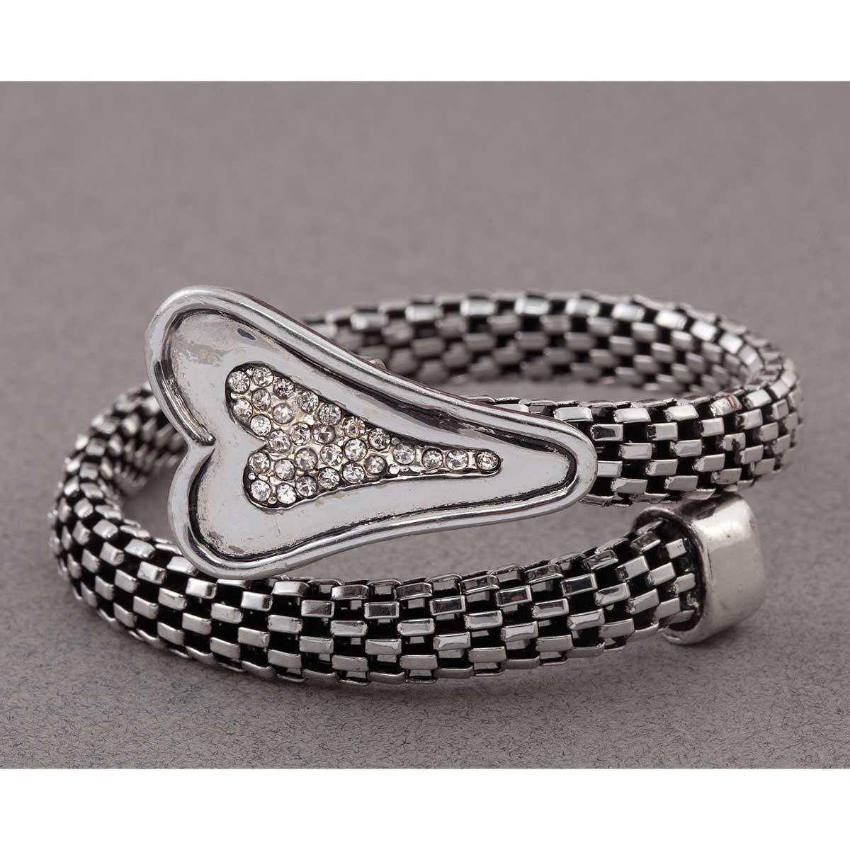 Silver Mesh Heart Wrap Bracelet