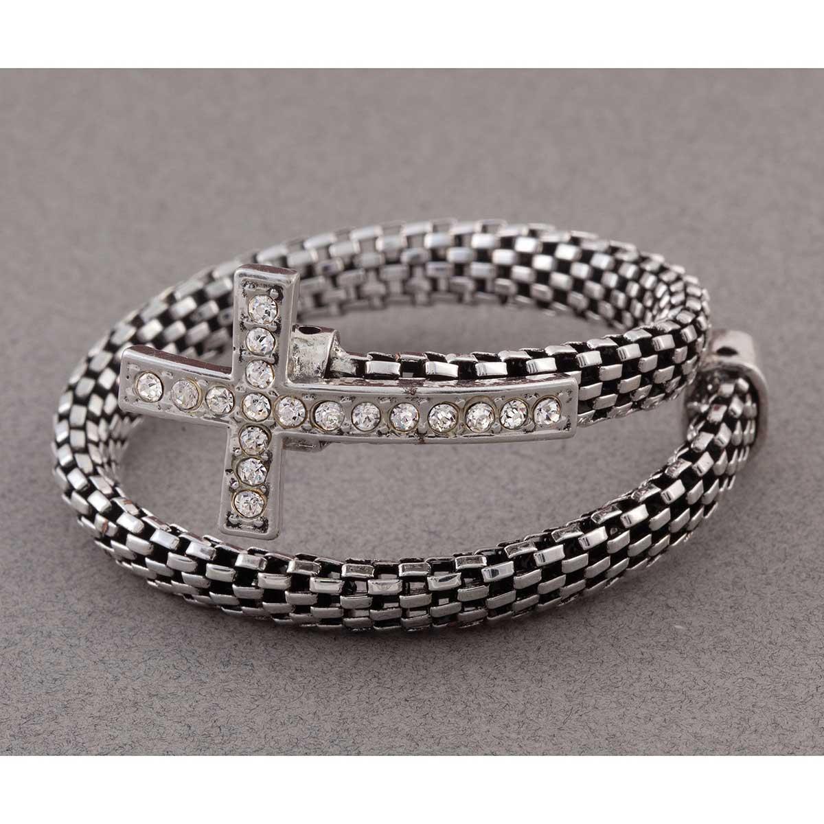 Silver Mesh Cross Wrap Bracelet