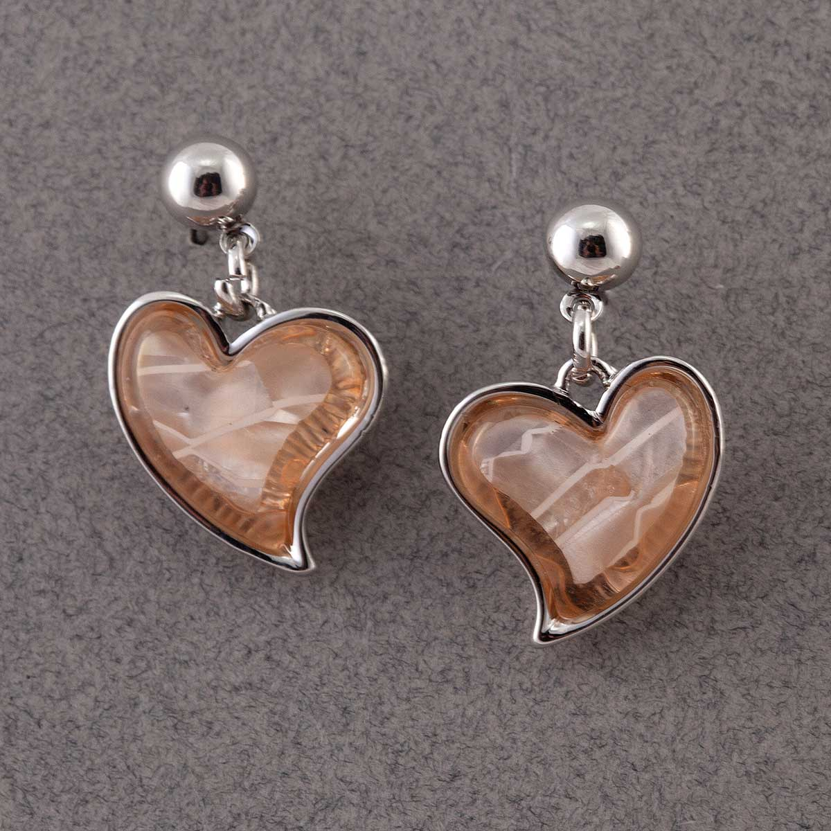 PEACH STONE HEART EARRINGS