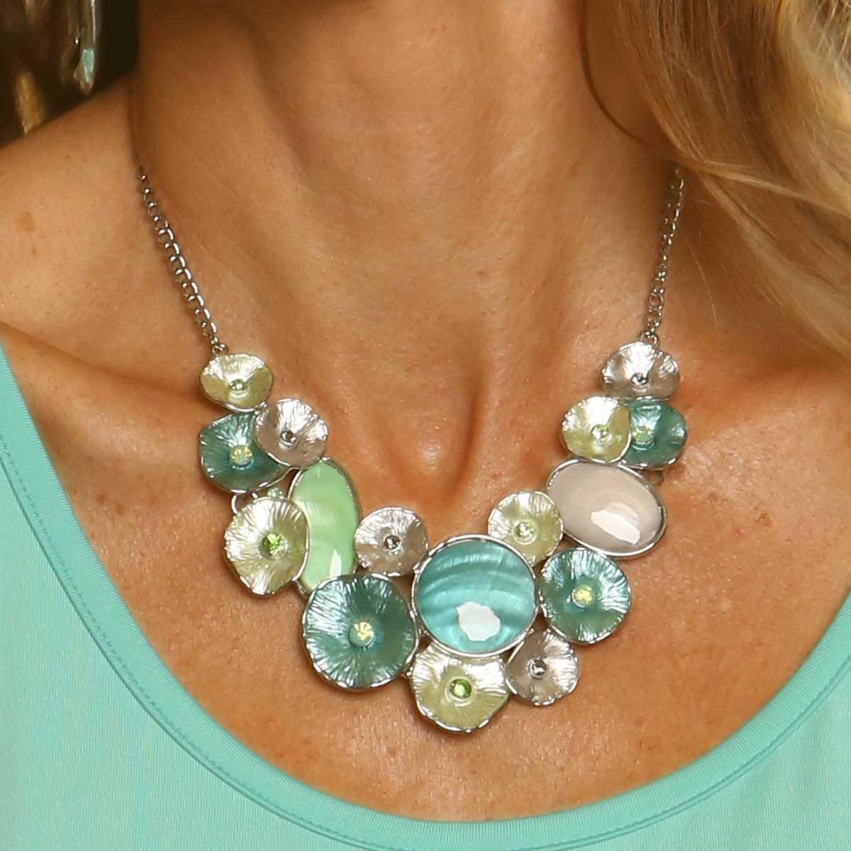 Aqua and Green Circle Bib Necklace 50sp
