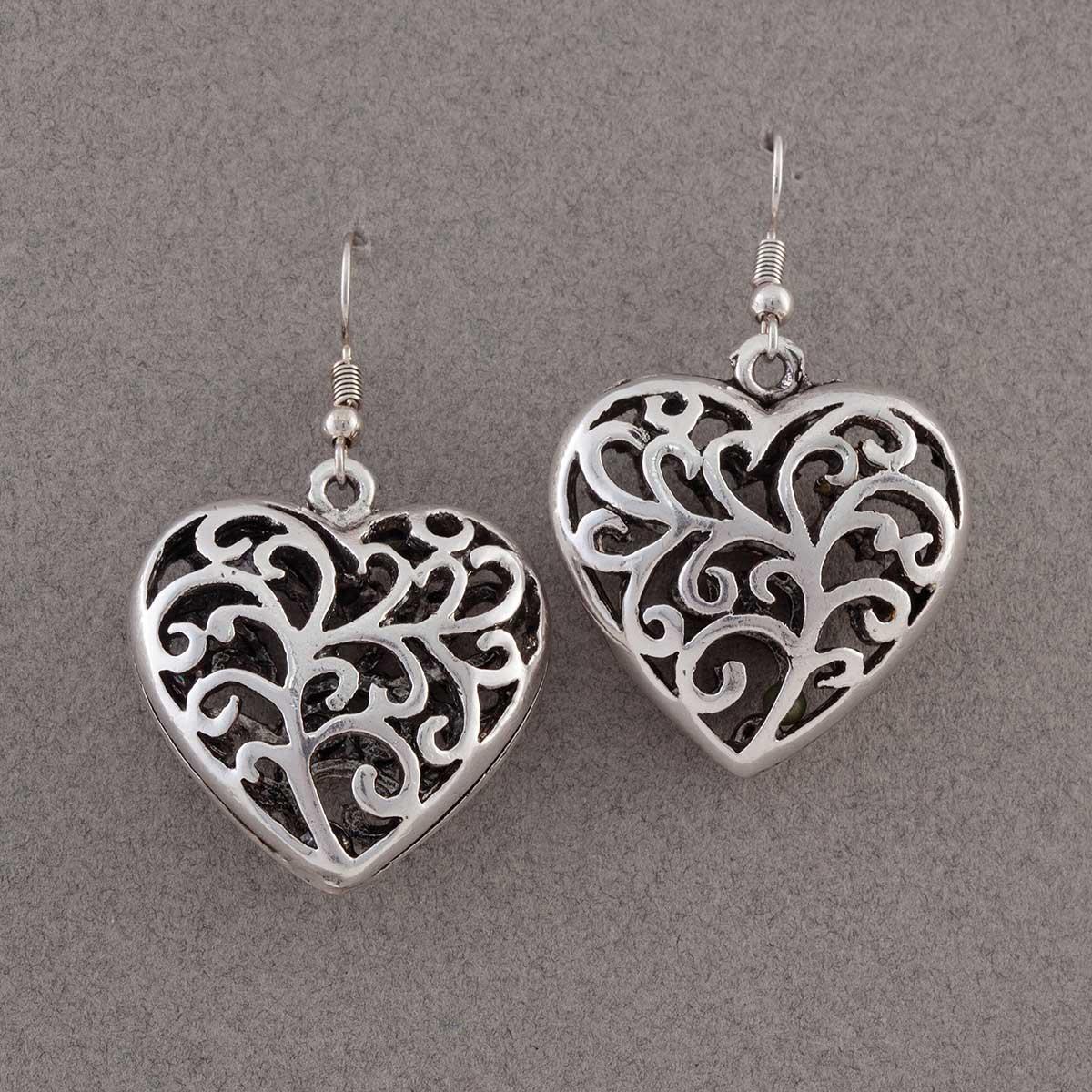 Silver Scroll Heart Earrings