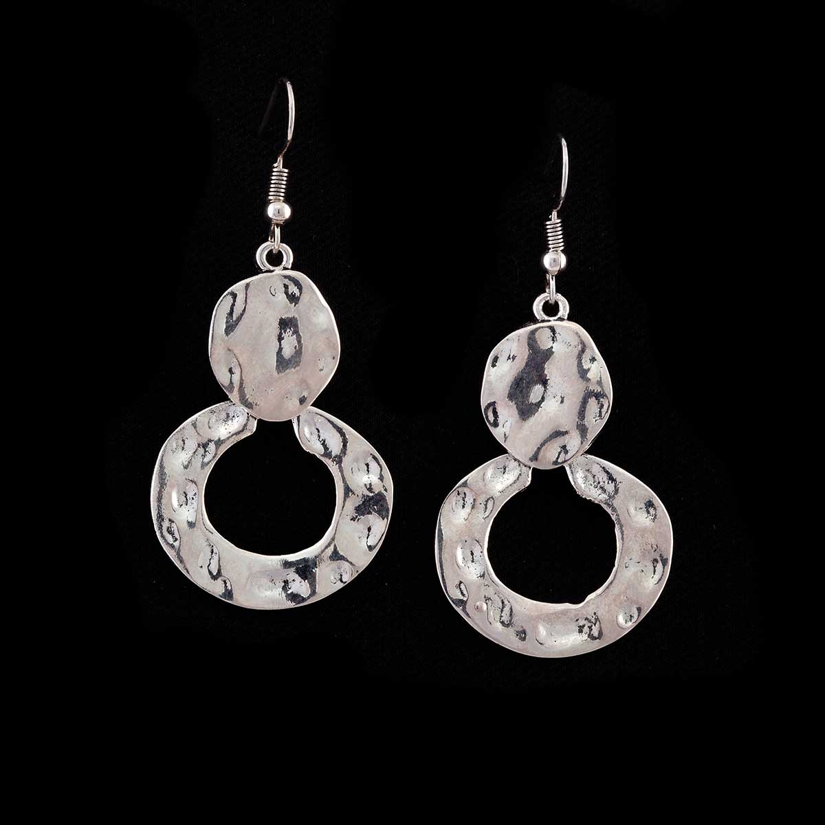 Silver Disc and Circle Earrings