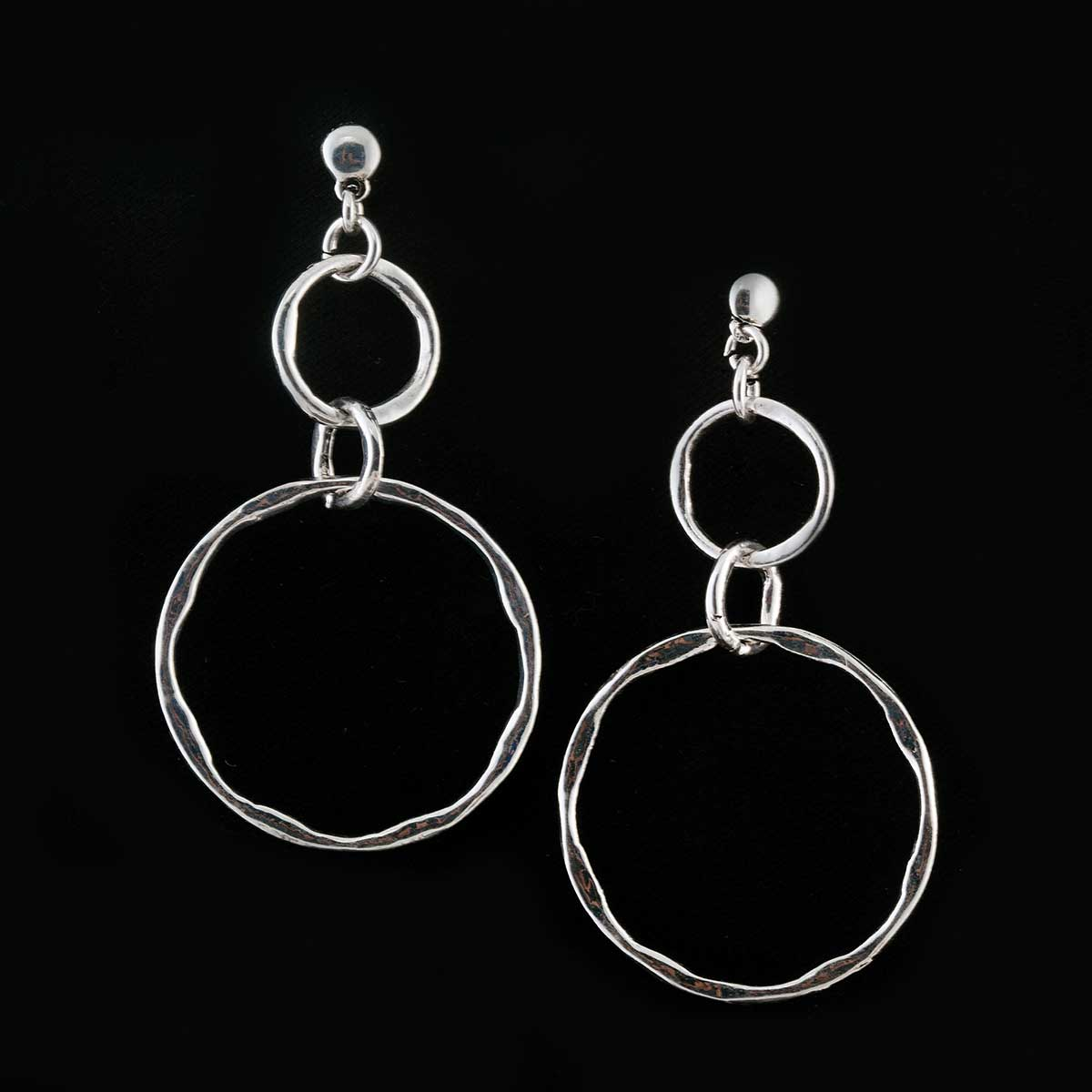 Silver Linked Triple Loop Earrings