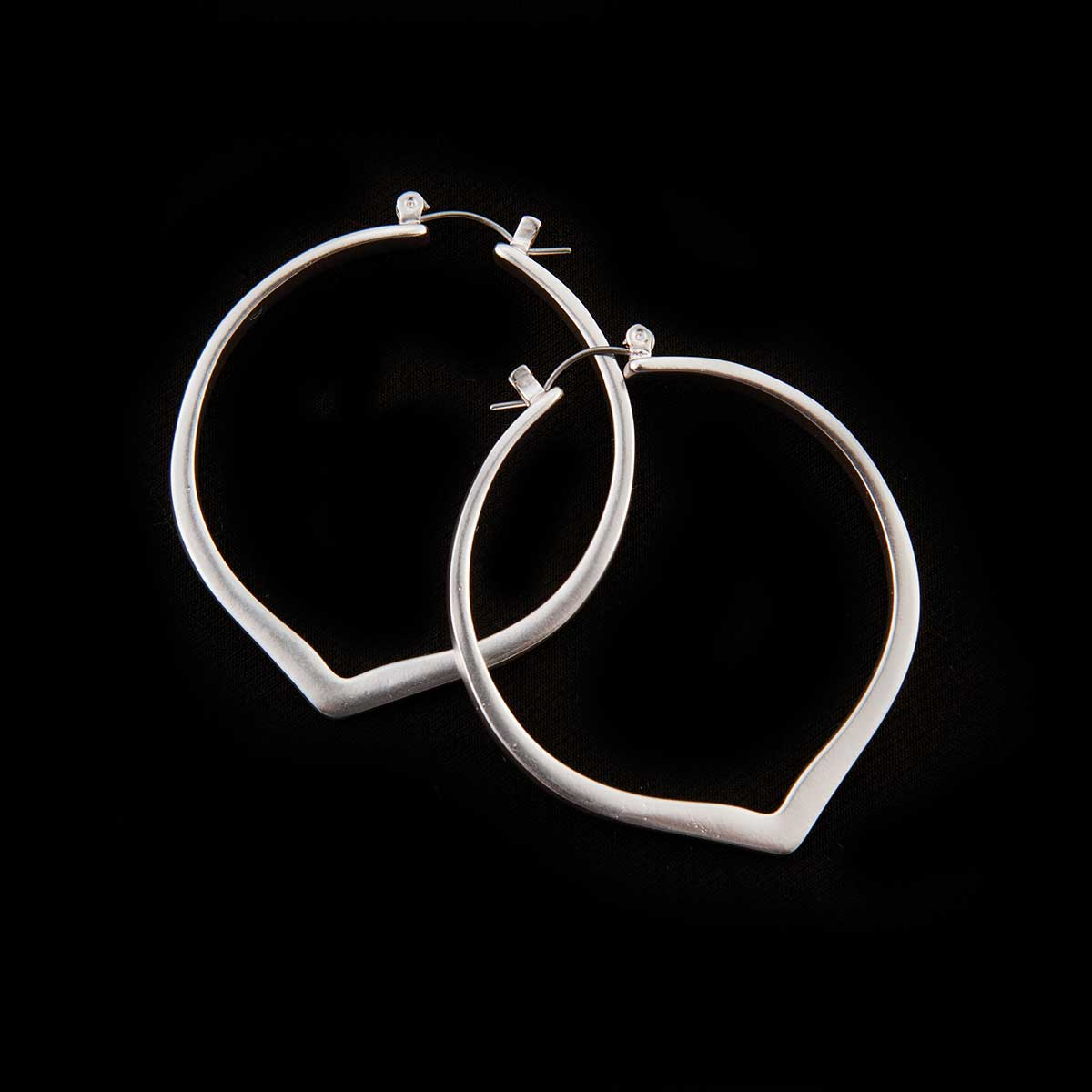 Silver Round Tear Earrings
