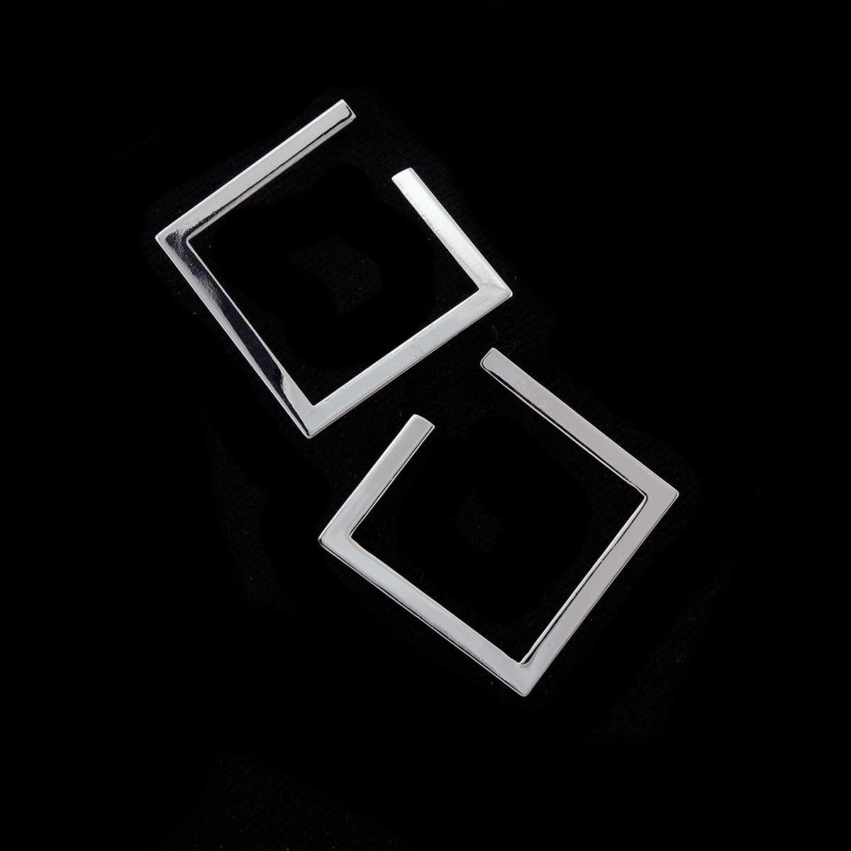 Silver Open Square Earrings