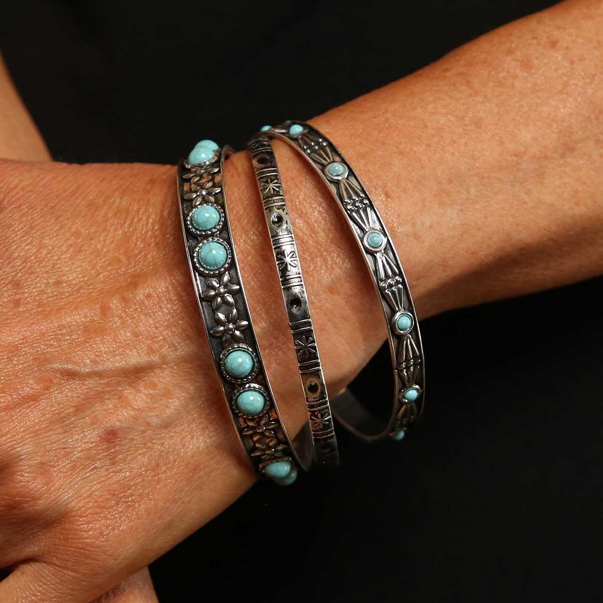 Turquoise and Silver Bracelets X3