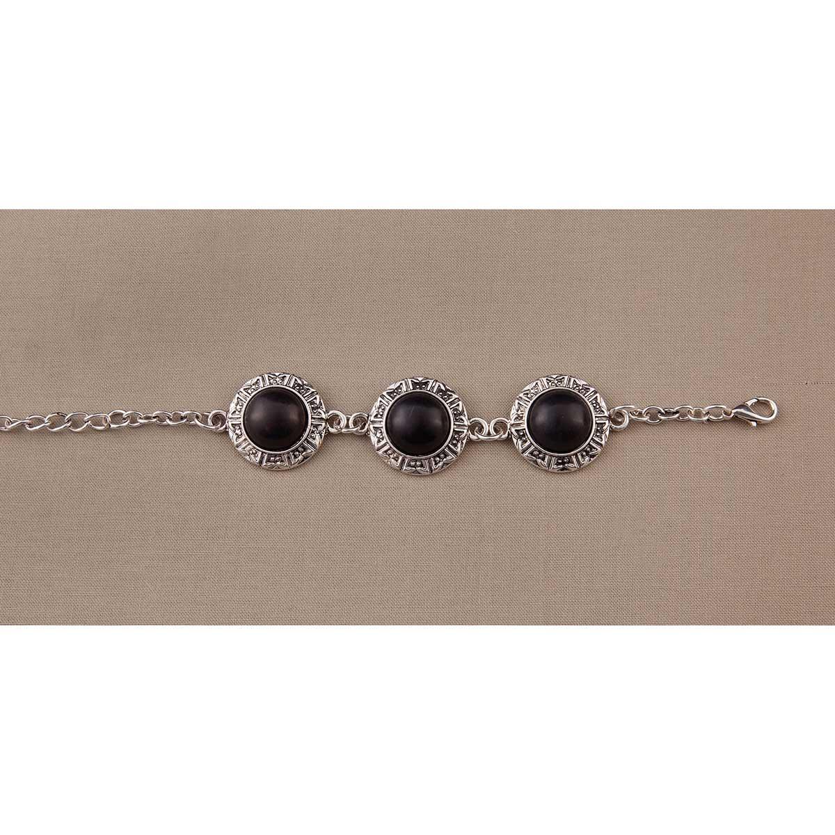 Black 3 Round Stone Bracelet