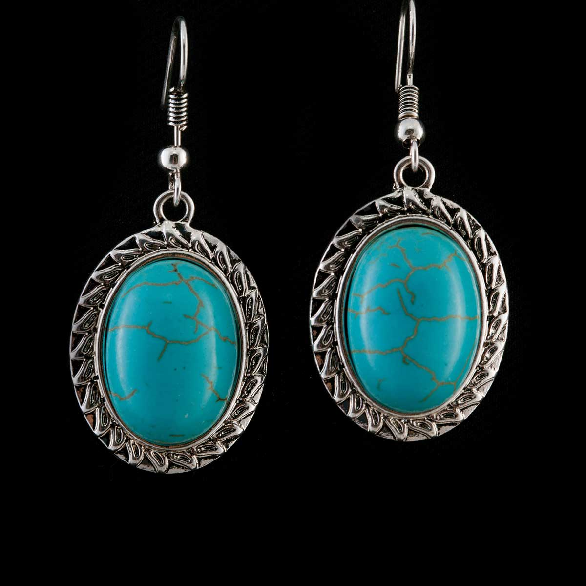 Turquoise Oval Stone Earrings