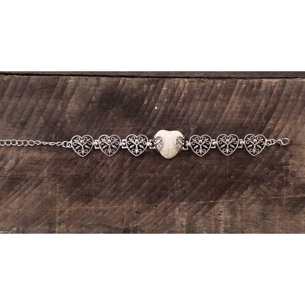 White Stone Heart Bracelet