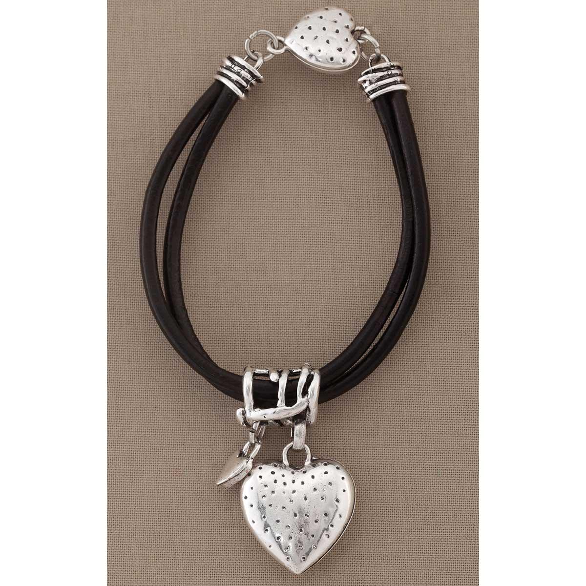 Silver Heart on Black Cord Bracelet