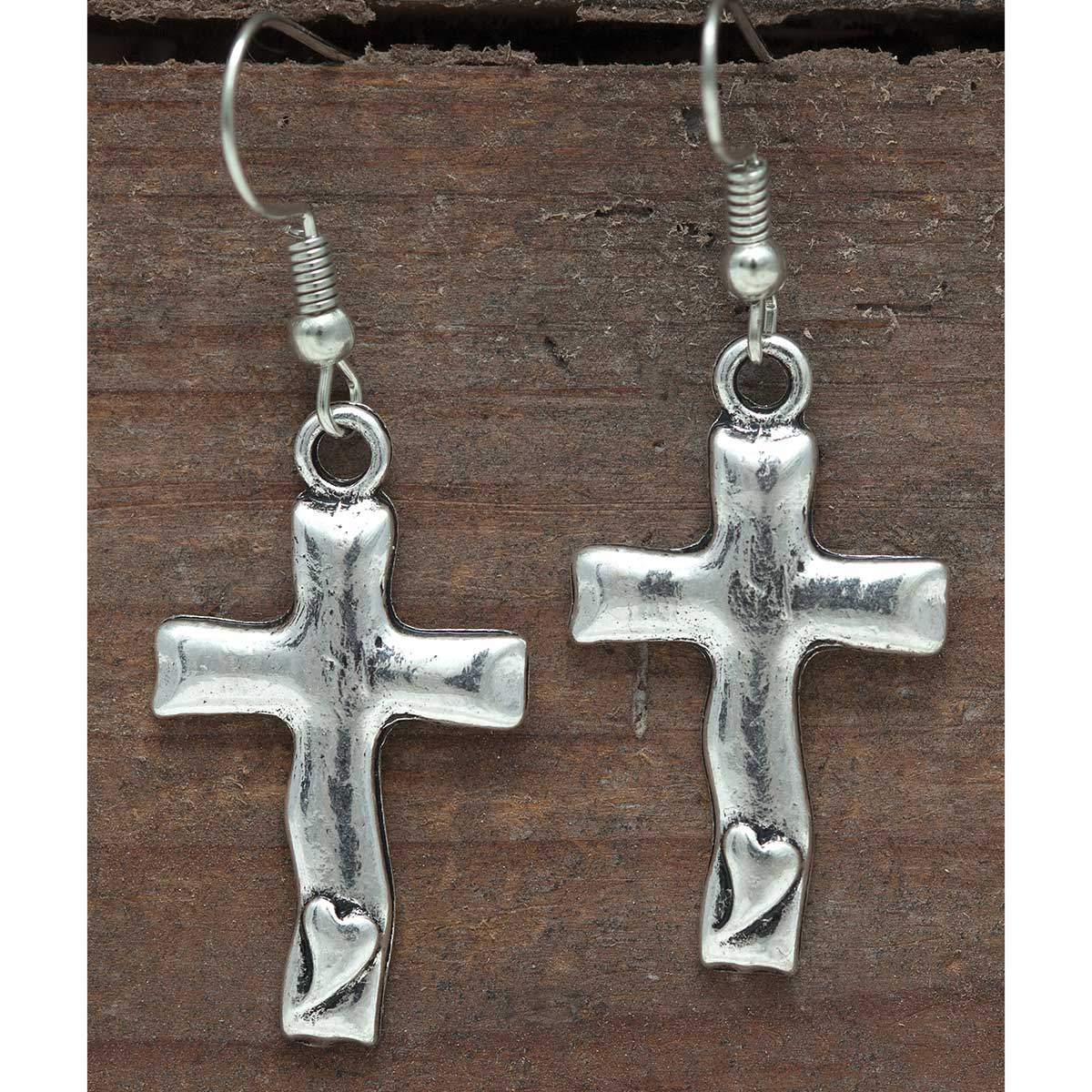 Silver Cross with Heart French Wire Earrings
