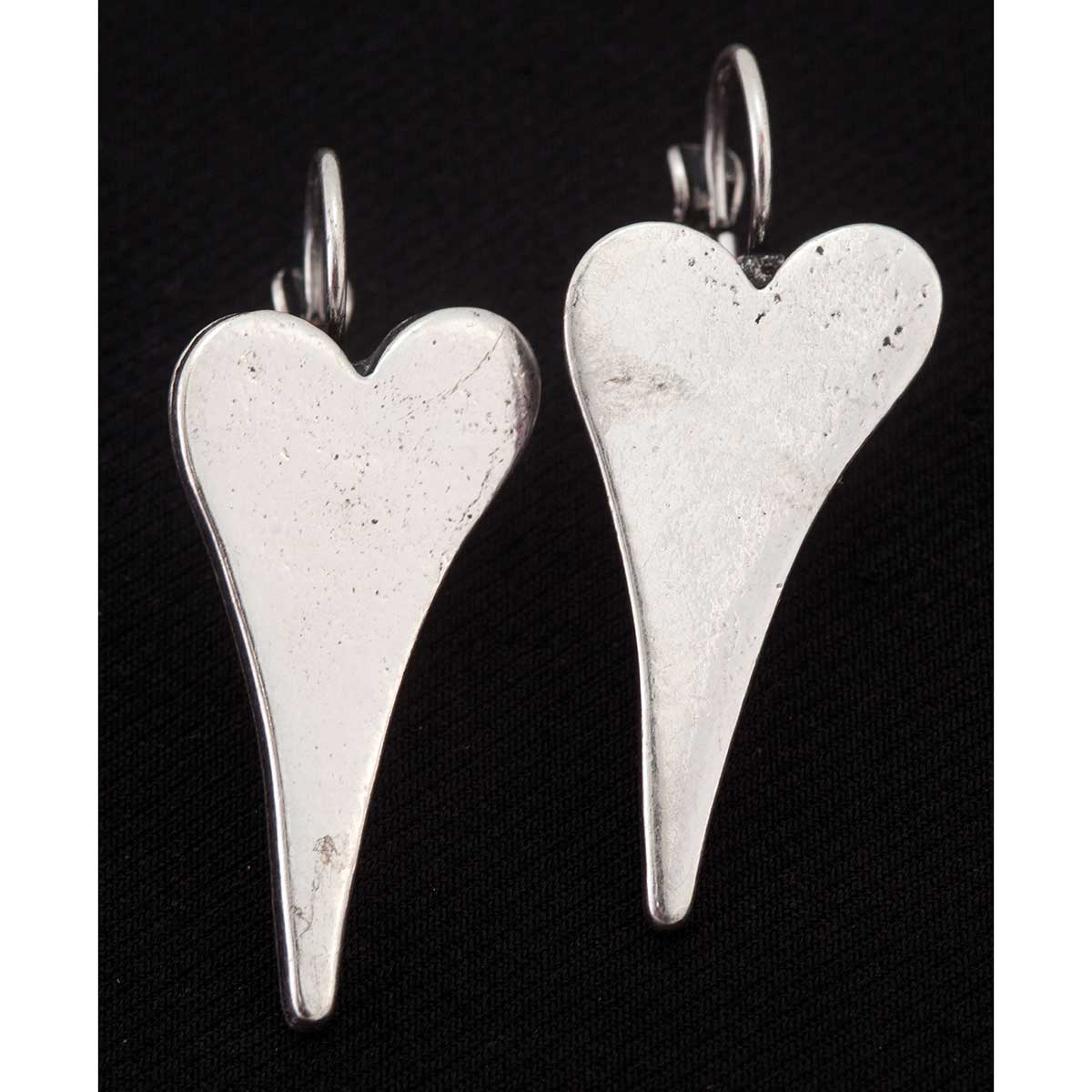 Silver Long Heart Hook Clasp Earrings