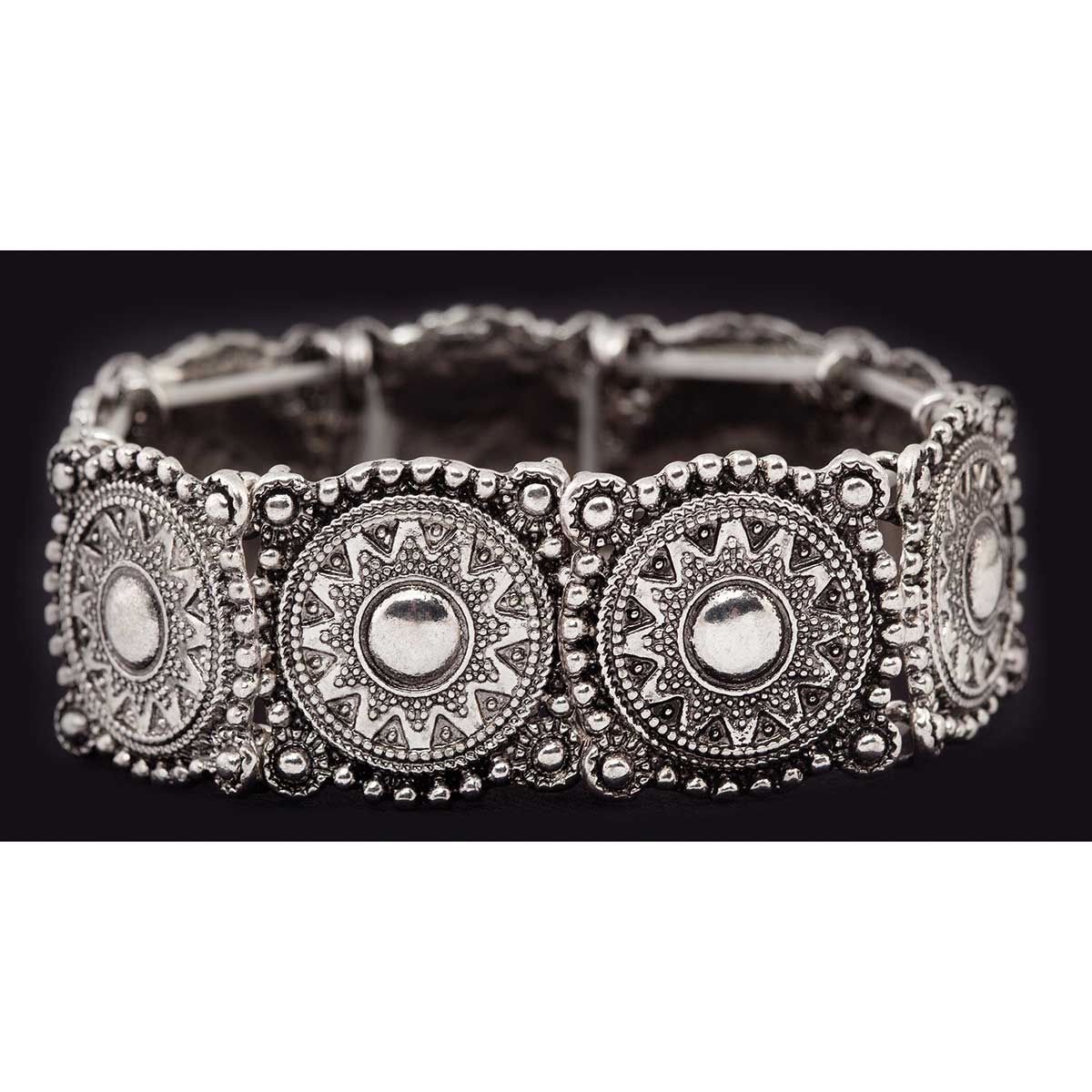 Antique Silver Circle Stretch Bracelet