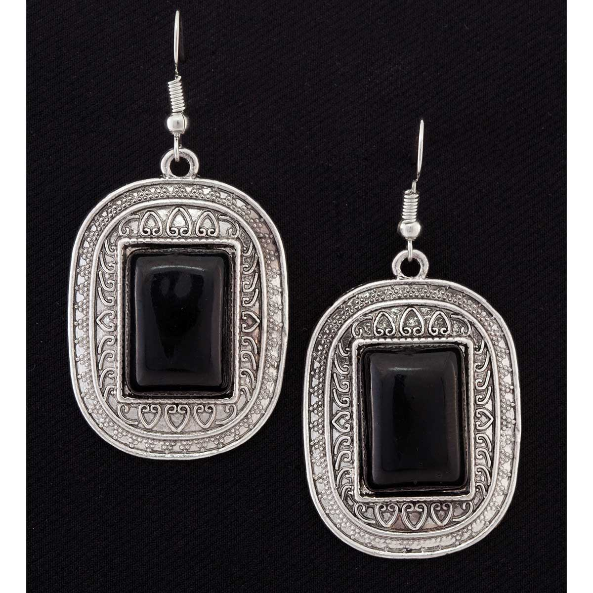 Antique Silver and Black Medallion French Wire Earrings