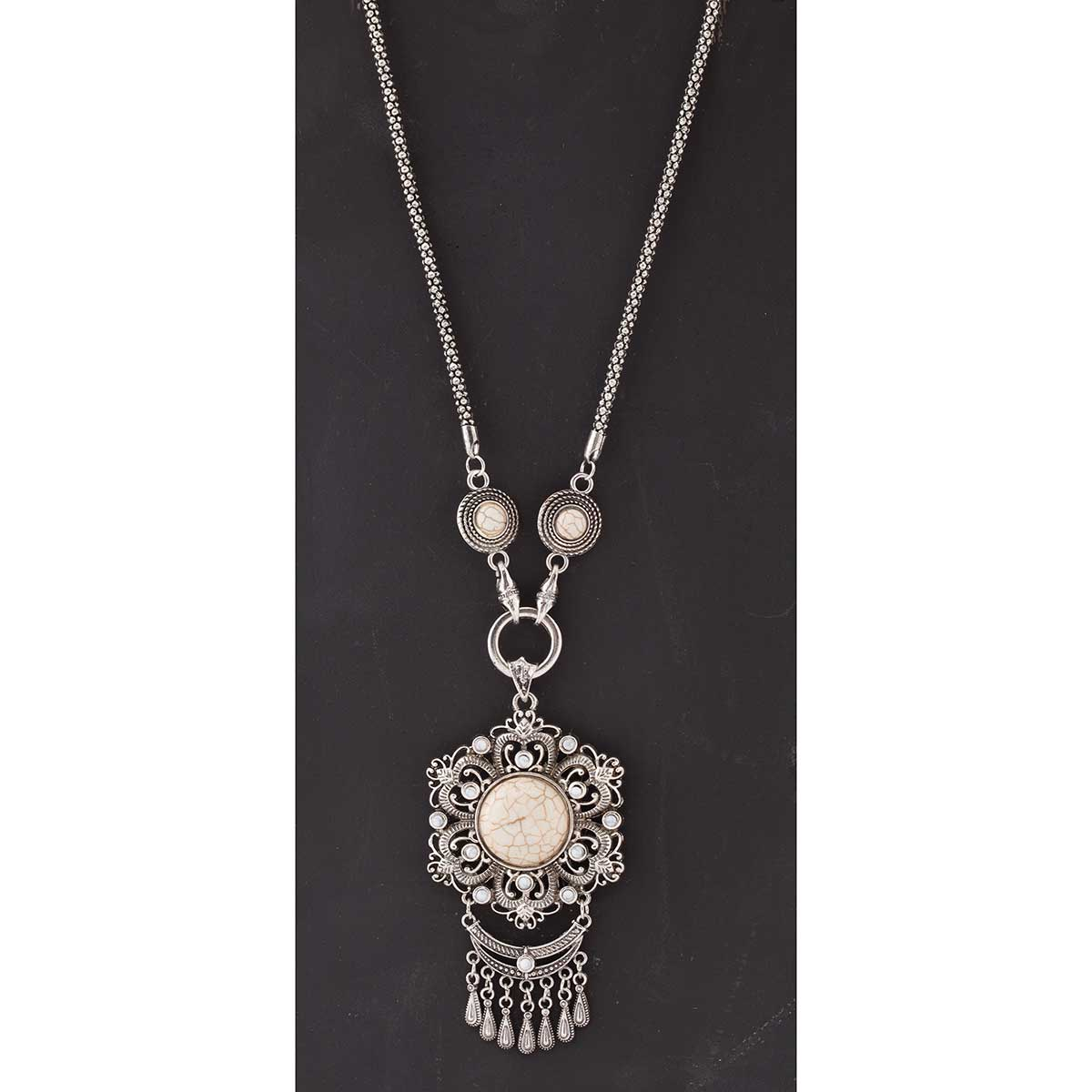Antique Silver and White Flower Medallion Necklace