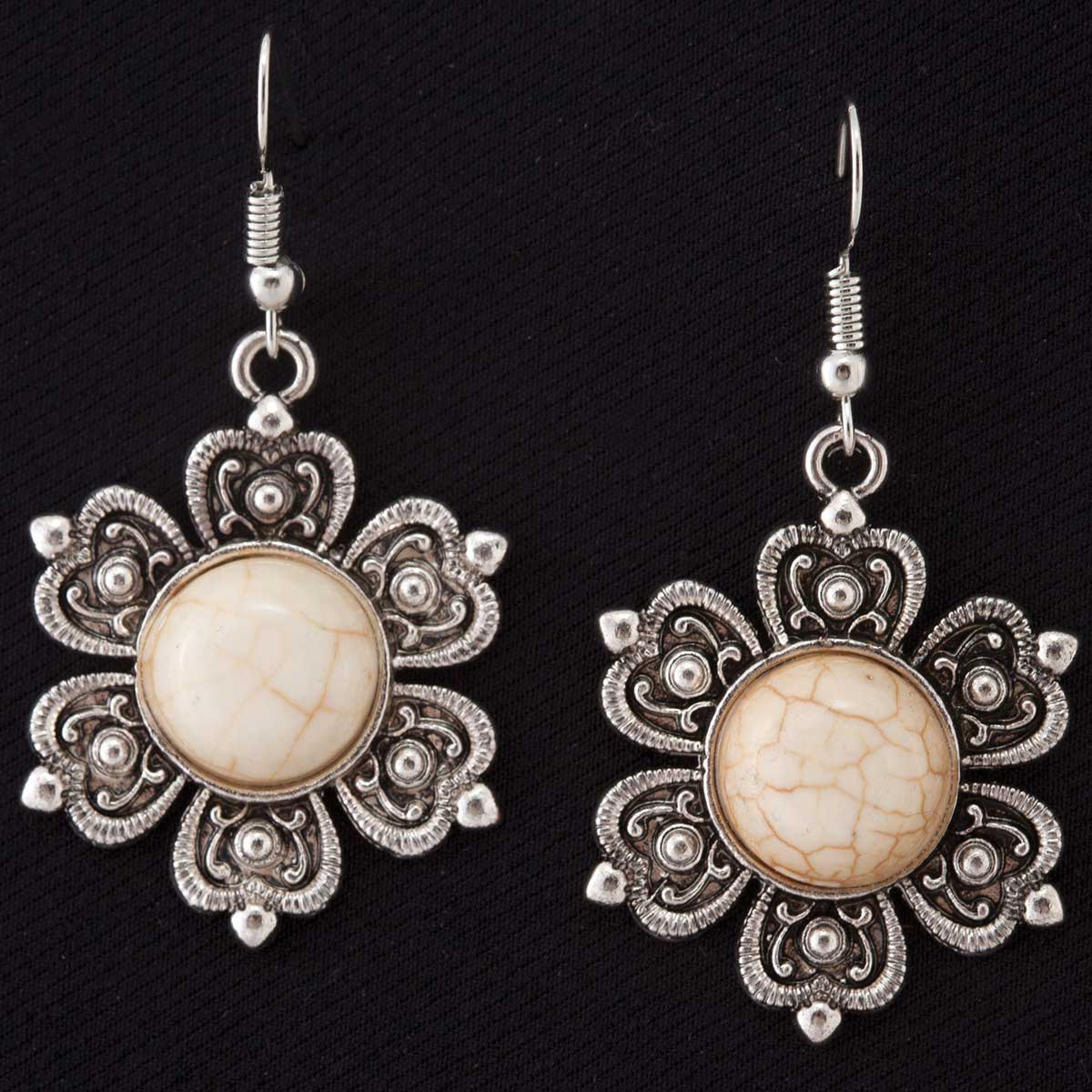 Antique Silver and White Flower Medallion French Wire Earrings
