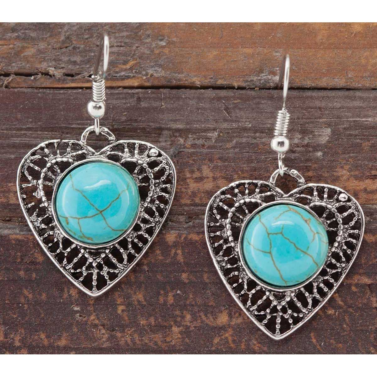 Antique Silver and Turquoise Heart Medallion French Wire Earring