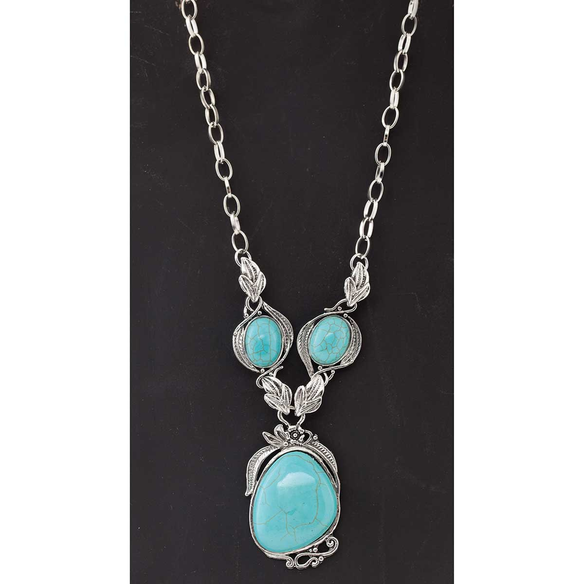 Antique Silver and Turquoise 3 Oval Necklace