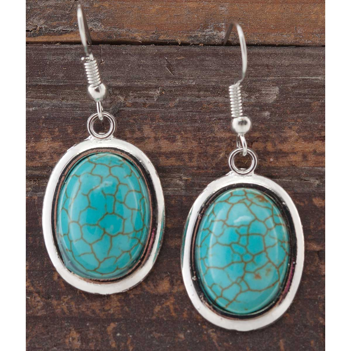 Antique Silver and Turquoise Oval French Wire Earrings