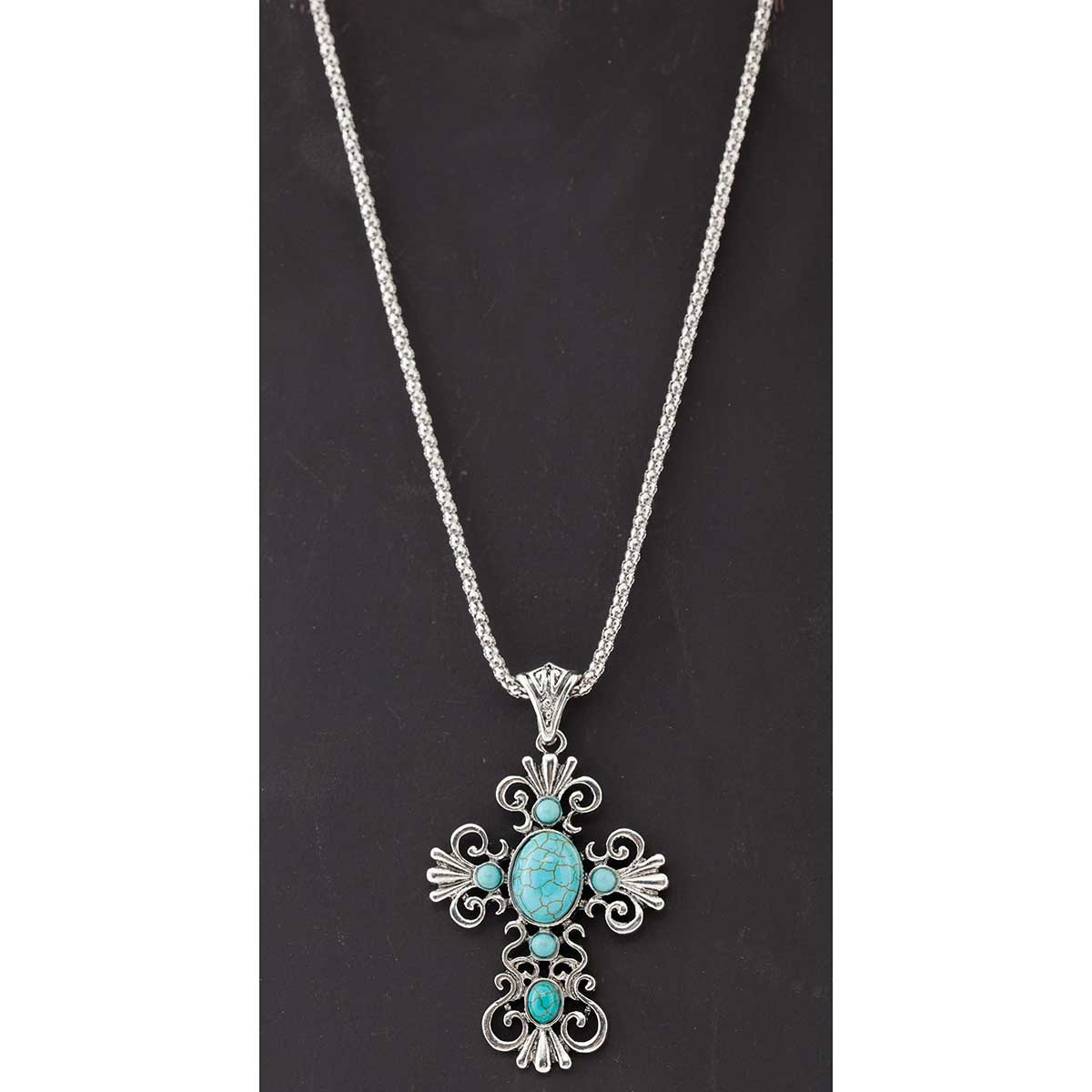 Antique Silver and Turquoise Cross Necklace