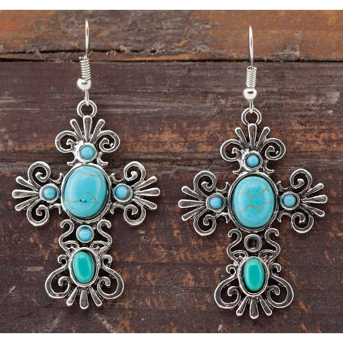 Antique Silver and Turquoise Cross French Wire Earrings