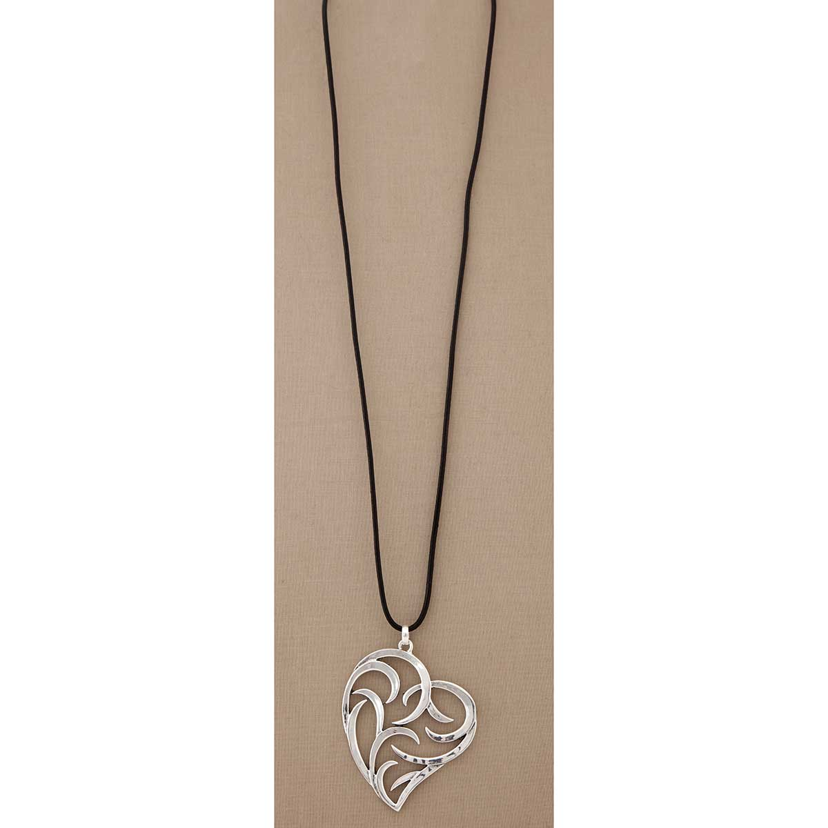Silver Swirl Heart on Black Cord Necklace