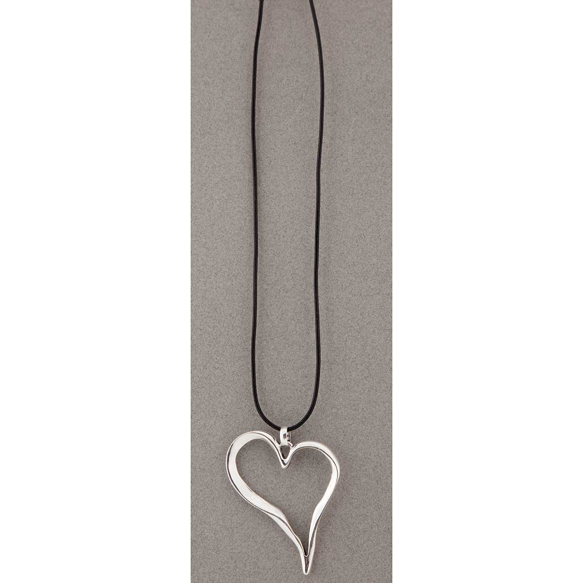 Silver Heart on Black Cord Necklace
