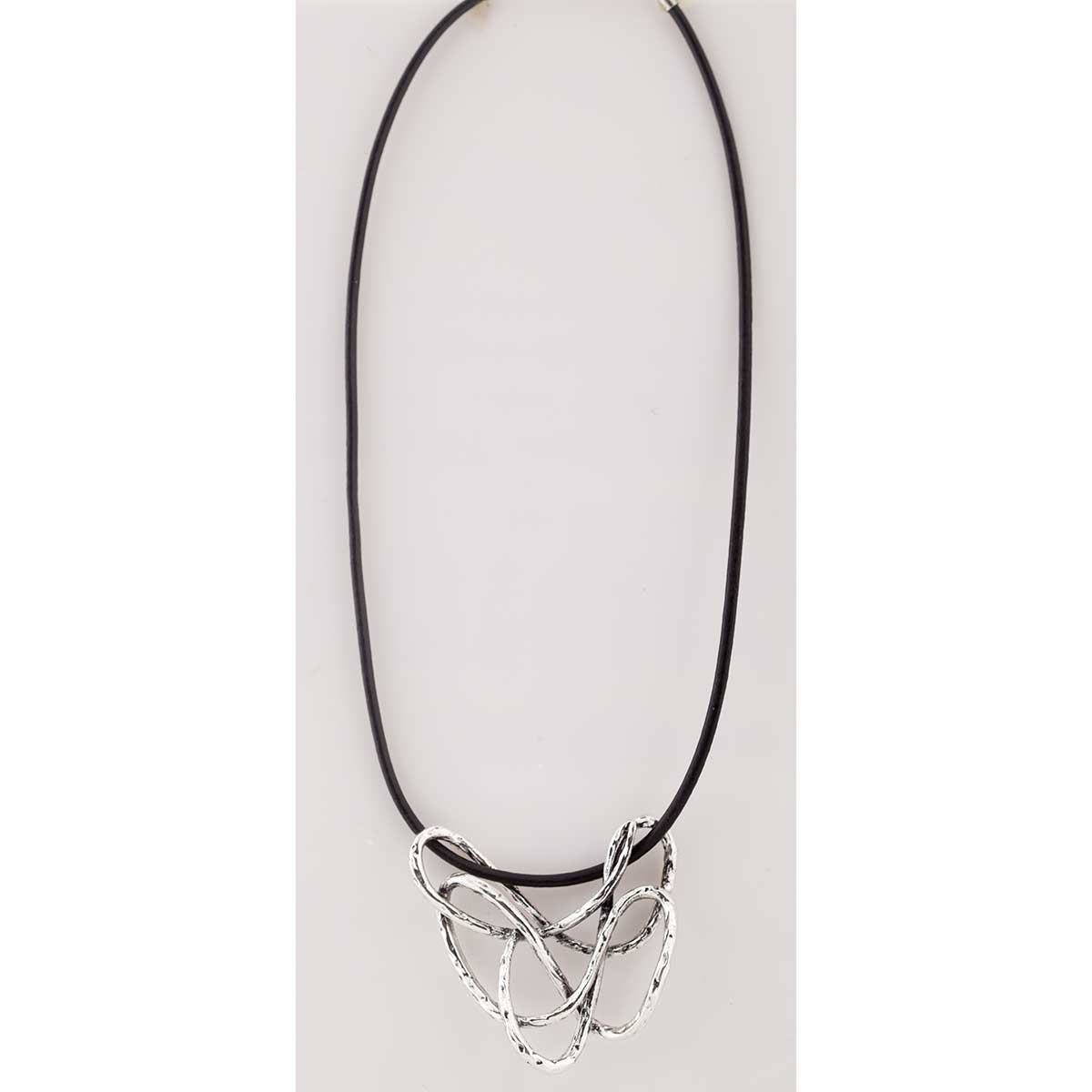 Silver Free-Form on Black Cord Necklace