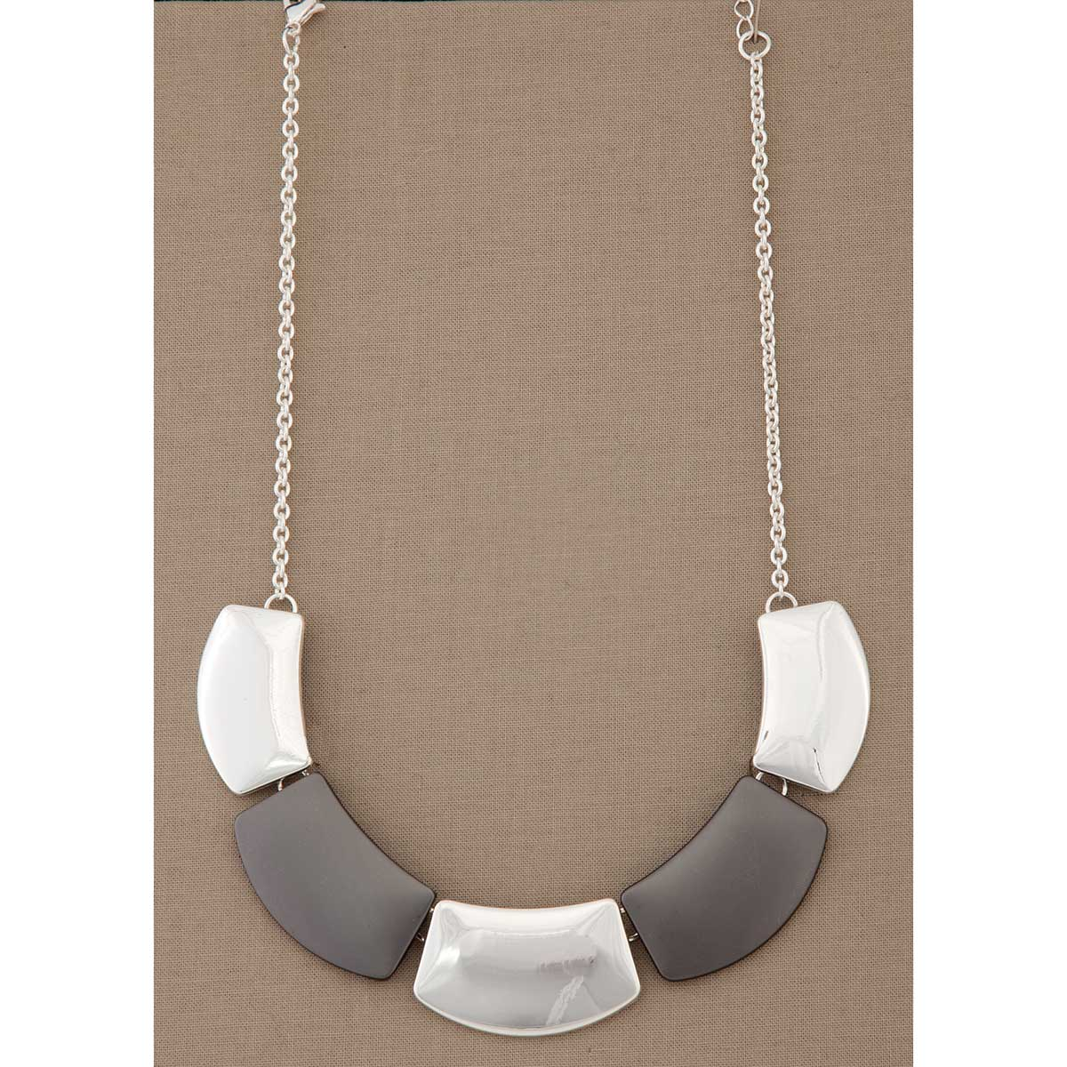 Silver and Gunmetal Rectangle Necklace