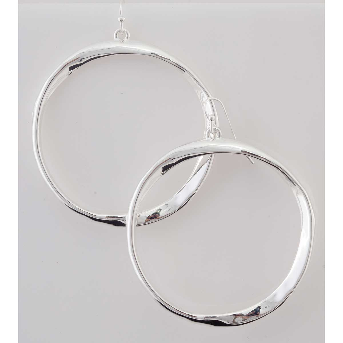 Silver Hoop French Wire Earrings