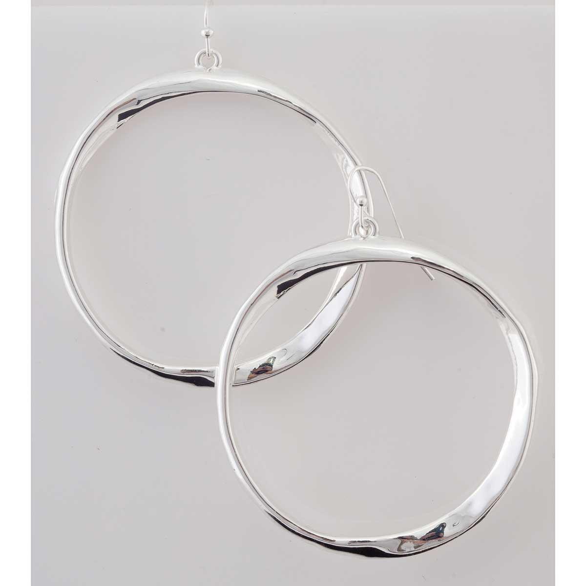Silver Hoop French Wire Earrings