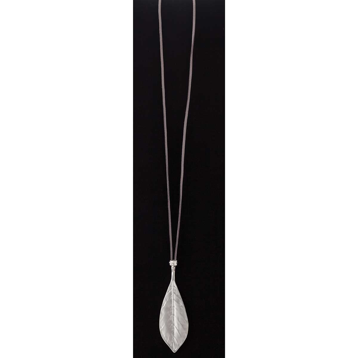Silver Leaf on Grey Cord Necklace