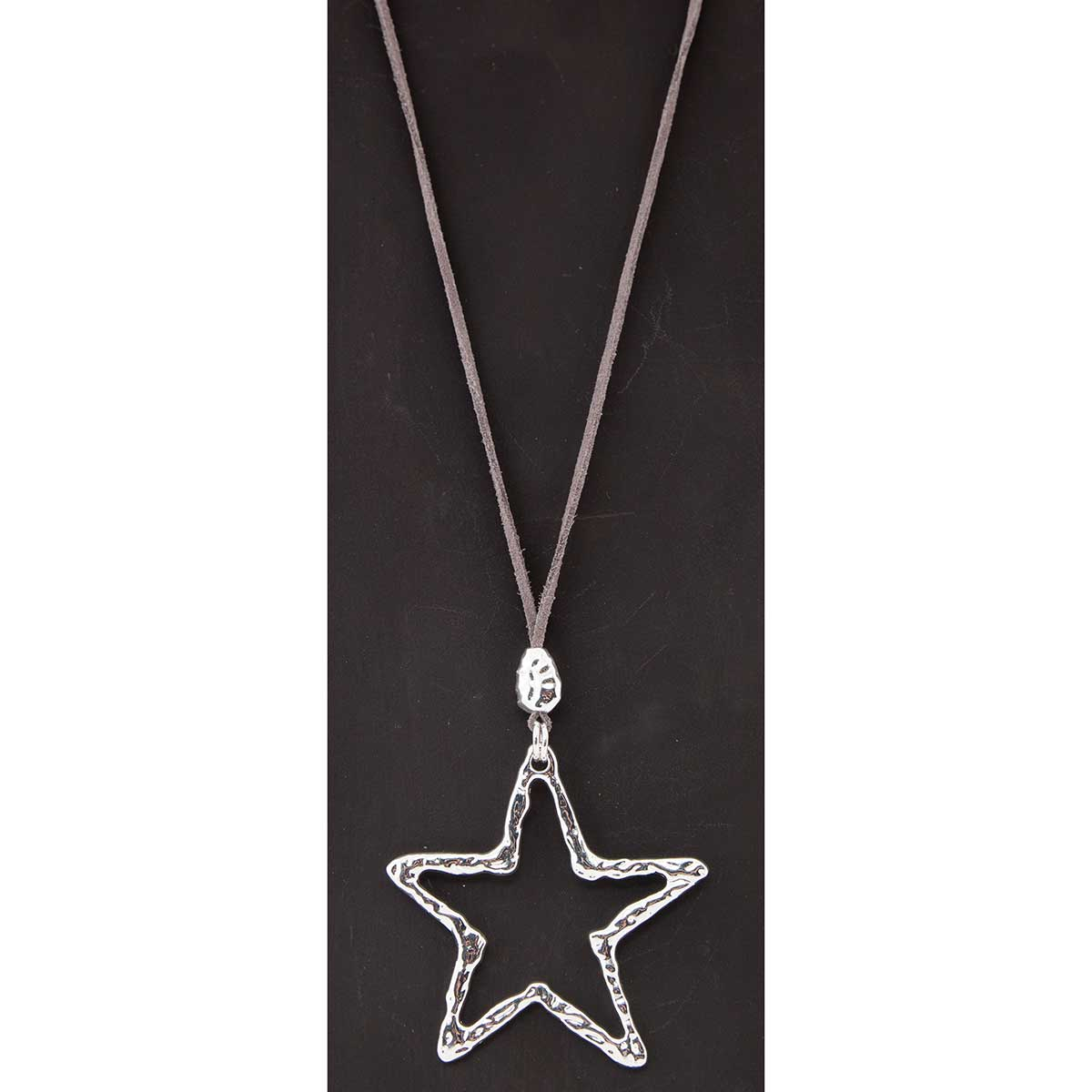 Silver Star on Grey Cord Necklace