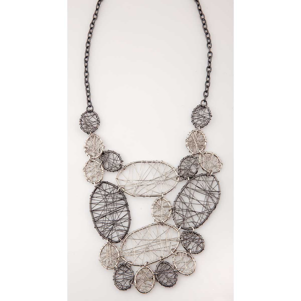 Pewter and Silver Oval Shapes Bib Necklace