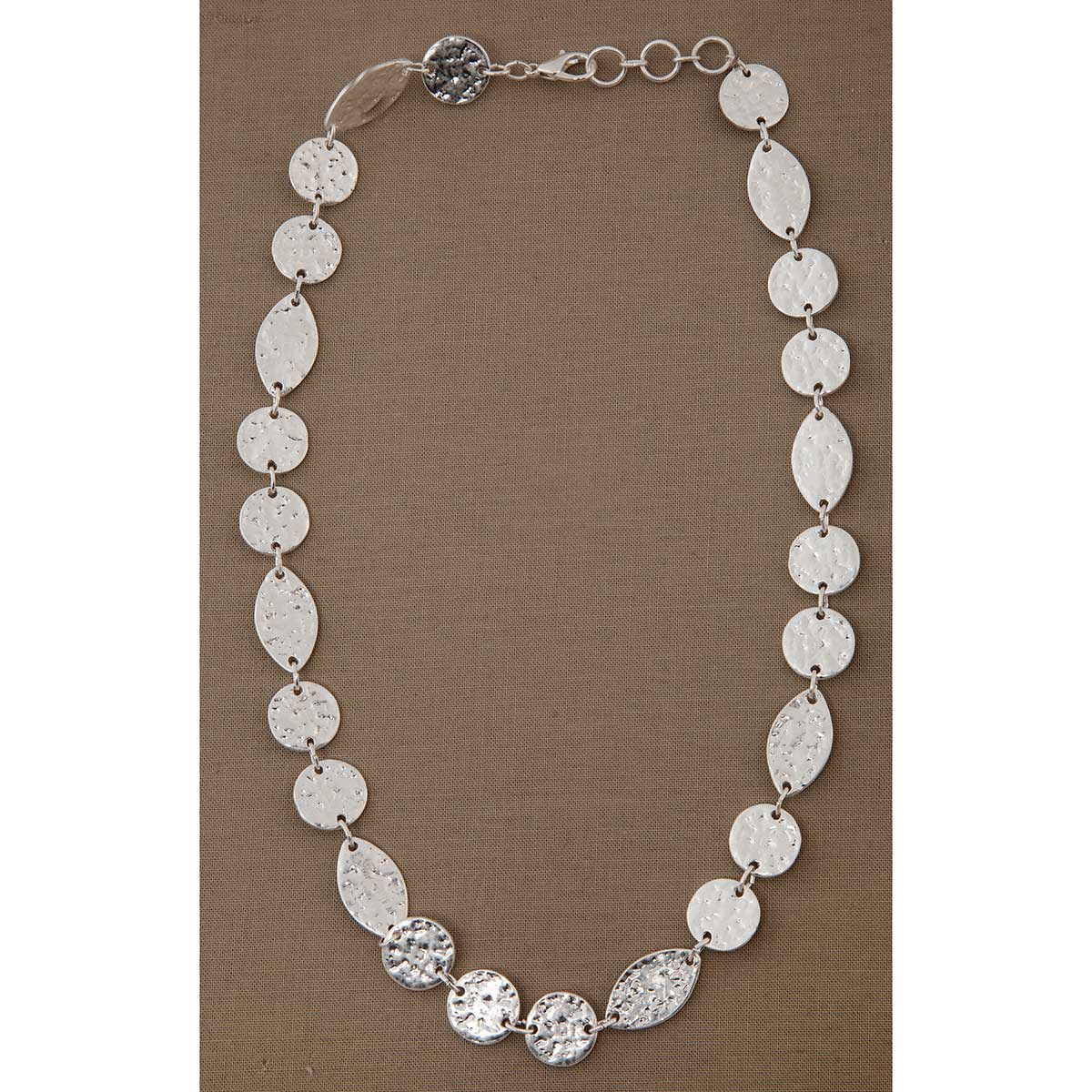 Silver Hammered Disc Necklace