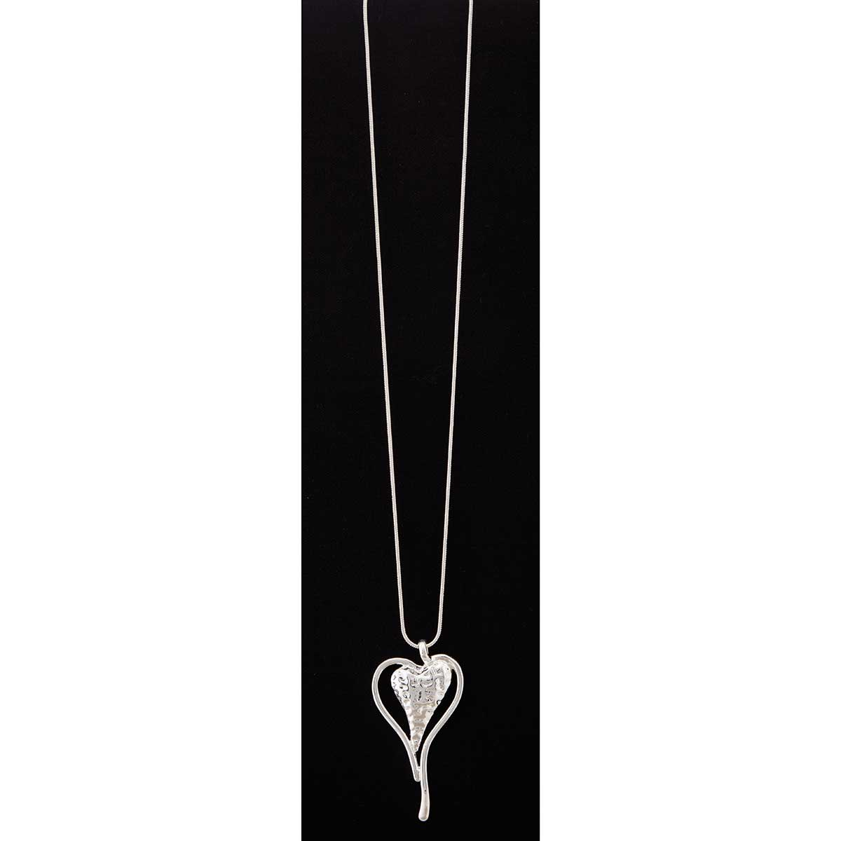 Silver Double Heart on Chain Necklace