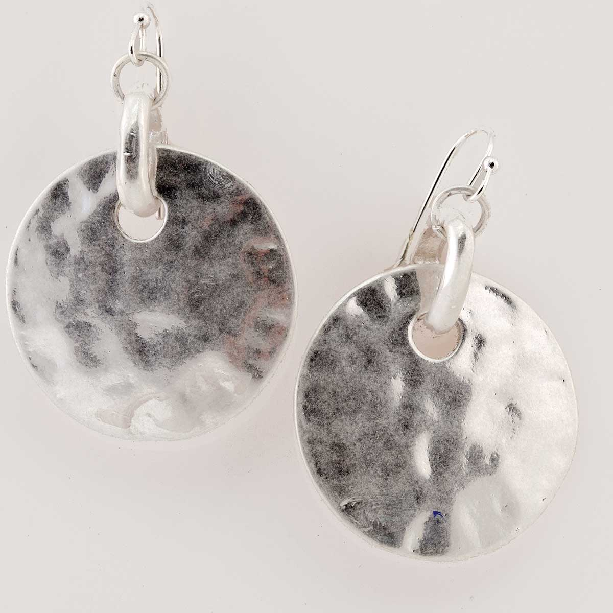 Silver Hammered Disc French Wire Earrings