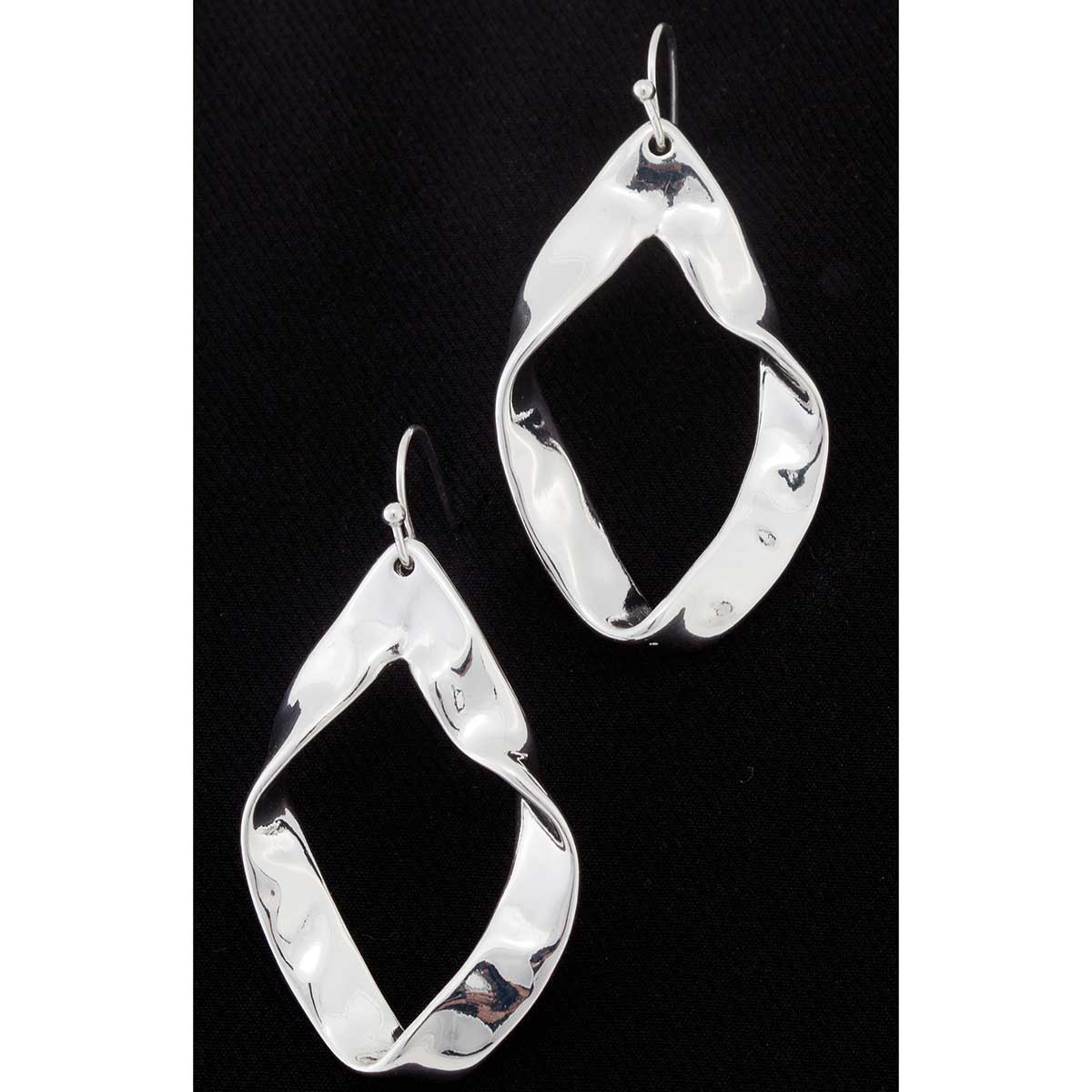 Silver Ripple French Wire Earrings