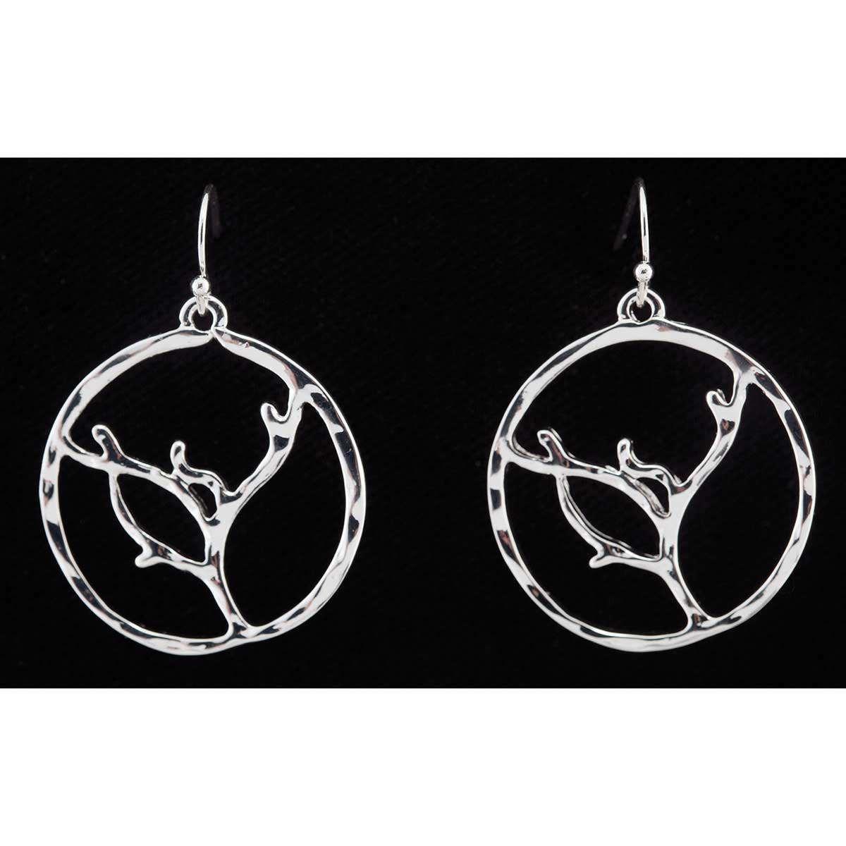 Silver Twig Circle French Wire Earrings